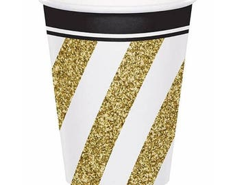 Paper Cups  Black and Gold 9 oz Cups ,  Compostable Sustainable Eco Friendly Birthday Party