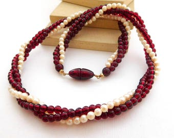 Vintage Dark Red Lucite White Pearl Bead Twisting Candy Cane Necklace N49