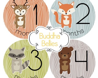 Woodland Baby Month Stickers - Fox Baby - Hunter Baby Monthly Stickers - Woodland Milestone Stickers - Deer Raccoon Bear Nursery Baby Boy