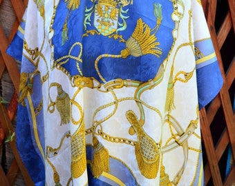 Andreea Zanellato Scarf, Hermes look Silk Scarf, Royal Blue and Gold print scarf Beautiful Vintage shawl