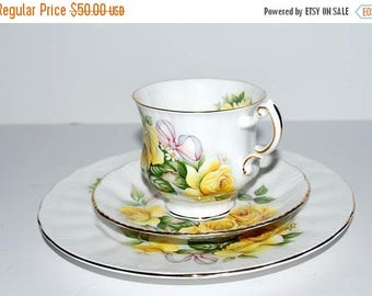 weekend sale Royal Crest china trio yellow roses  3 piece set  English china tea party