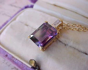 Lovely Vintage Estate Necklace with Faux Amethyst and Faux Diamond