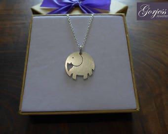 Silver Elephant Necklace - Handmade Elephant Pendant - Elephant Charm - Satin