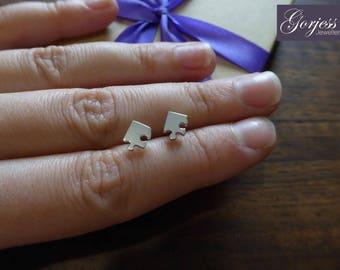 Miniature Puzzle Stud Earrings - Silver Stud Earrings - Silver Corner Puzzle Earrings - Handmade Puzzle Studs