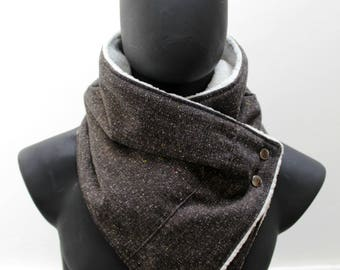 Blanket scarf. Mens cowl. Cotton blend,Flecked dark brown and faux lamb fur. Metallic snaps,Mens winter. Husband gift. Vegan neckwarmer
