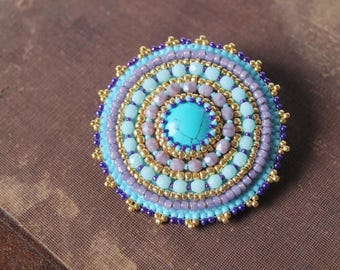 Turquoise Purple Brooch Turquoise Jewelry Colorful Brooch Cabochon Brooch Beaded Brooch Ethnic Boho Jewelry Gift for her idea MADE TO ORDER