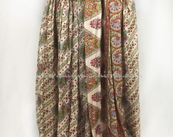 White, green, grey, and red floral stripe upcycled silk sari harem pants for renaissance, tribal, belly dance, fusion, ATS, pantaloons