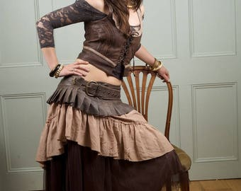 Brown  leather steampunk leather mini skirt wrap around leather ruffled steampunk skirt  with lace