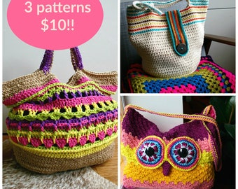 Crochet patterns, 3 crochet purse patterns sale, crochet summer purse patterns, crochet bag patterns, crochet handbag pattern