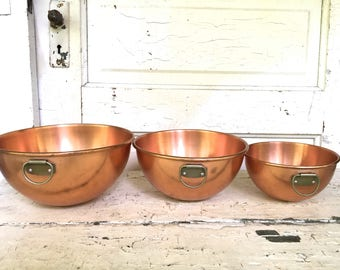 Vintage Copper Mixing Bowls Set of Three