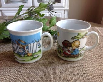 2 Small Joan Walsh Anglund Mugs Made in West Germany Kronestor Bavaria Erbeling and Reiss