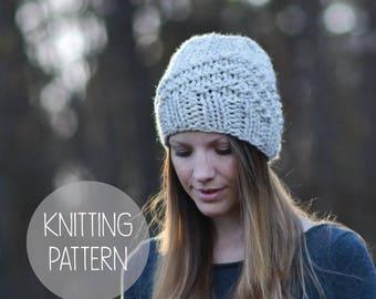 FLASH SALE knitting pattern geometric hat toque - the High Rise beanie