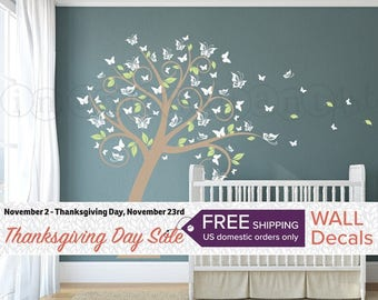 Nursery Blossom Butterfly Tree Wall Decal, Tree with Butterflies and Leaves for a Baby Nursery, Kids or Childrens Room 031