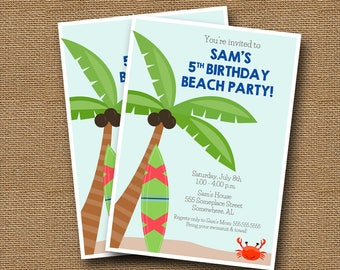 Beach Party Invitation | Kid's Beach Birthday Party | Cute Summer Swim Party | Boy or Girl Pool Party | Surfboard Invite | DIY PRINTABLE