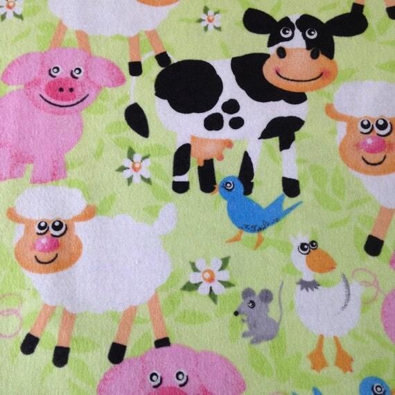 Farm Barn Yard Animals Cow Duck Pig Sheep Quilt Flannel