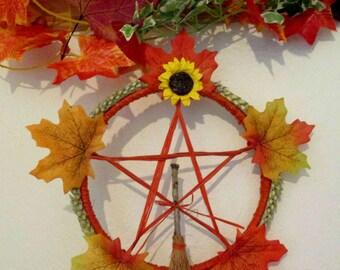 Handmade Mabon Maple leaf, sunflower & wheat Pentagram Wheel / Wreath With Usable Miniature Altar Oak Besom. Wall hanging / Altar set.