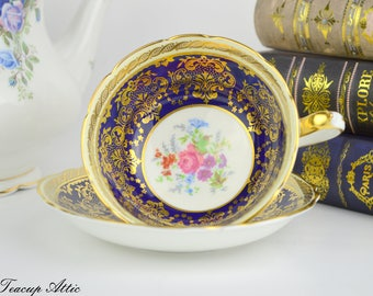 Paragon Navy Blue And Gold Teacup and Saucer With Floral Center, English Bone China Tea cup Set, Cabinet Teacup, ca. 1952-1960