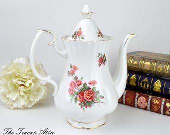 Royal Albert Coffee Pot Full Sized Coffee Pot with Pattern on Spout, Replacement China, Wedding Gift, c. 1967