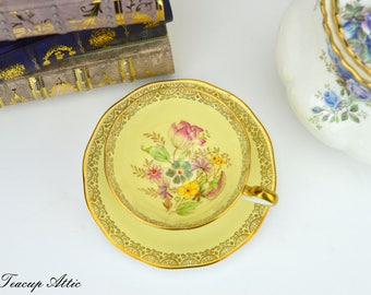 Queen Anne Soft Yellow Teacup and Saucer With Hand Painted Floral Accents, English Bone China Tea Cup Set, Replacement China, ca 1940-1960