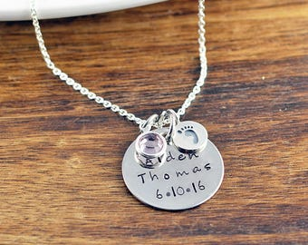 Hand stamped jewelry personalized gifts by luckyhorngifts on etsy new mom jewelry baby name necklace mommy necklace child name baby birth negle Gallery