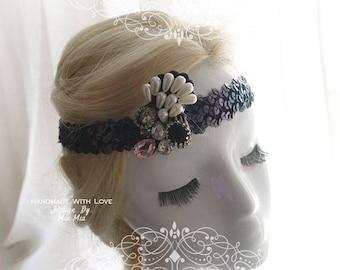 Black Sequins rhinestone Great Gatsby Headband,Special Occasion ,Gatsby Wedding,1920s Flapper Headband,Hippie Bohemian Clothing,fascinator