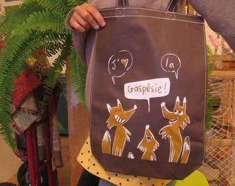 Reusable eco bag foxes - medium - polypropylene - black and brown