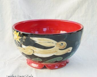 Folk Art Serving Bowl