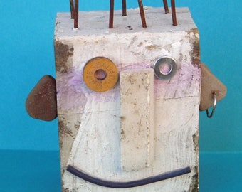Mixed media wood block face mask, found items, business card holder, recycled, nails, pebbles, smile, face sculpture, rectangle desk art