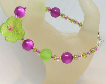 Lime Green & pink Bead Pansy Flower Bracelet Handmade Bracelet-Gifts for women-Gifts for her-Ladies Jewellery-Ladies gifts