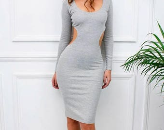 ON SALE Womens Ladies New 'Genevive' Grey Cut Out Midriff Long Sleeve Midi Pencil Bodycon Dress