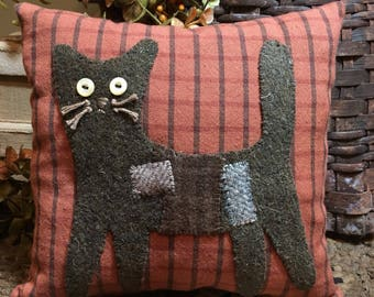 MEOW on the PROWL Kitty Cat wool appliqué Pillow FAAP