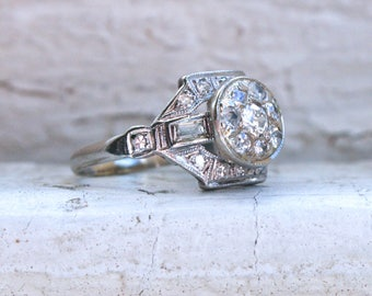 RESERVED - Antique Platinum Diamond Cluster Engagement Ring - 0.45ct.