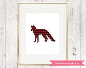 Fox Nursery Print | Printable Woodland Nursery Decor | Red Buffalo Plaid Wall Art Instant Download