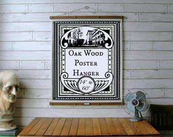 oak wood poster hanger 14 to 60 vintage chart reproduction art print - Etsy Frames