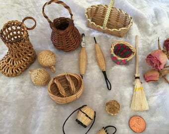 Vintage Miniature Baskets for Doll House. Mini 13 Basket Collection With Broom and Wooden Item. Varying Styles of Mini Baskets.
