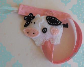 Felt  Cow Pacifier Clip- Baby Pacifier Clip- Felt Pacifier Clip- Buy 2 Get 1 Free*