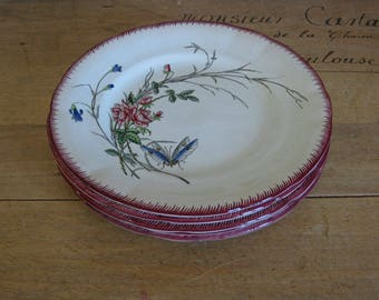 Sarreguemines papillon side plates, antique French faience salad plates with butterfly pattern, 5 available