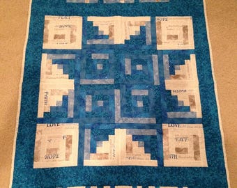 Finished Winter Cabins 32 inch x 47.5 inch Quilt by Sew Practical, Mom and Pop Craft