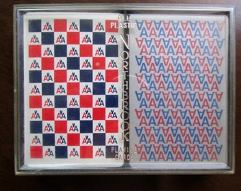 American Airlines Playing Cards Double Decks Vintage by US Playing Card Co in Plastic Case