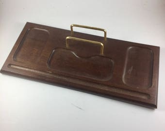 Vintage Wooden Dresser Valet with Brass Look Bars