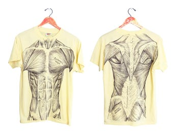 vintage t shirt / human anatomy / 70s t shirt / 1970s yellow human muscle anatomy doubled sided t shirt Small
