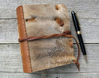 """Leather Journal, Baseball glove journal, notebook, 4.5"""" x 6"""",  OOAK"""