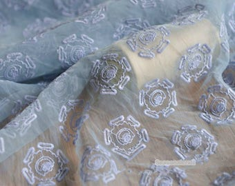 Light BLue Lace Fabric, Embroidered Fabric, Organza Lace For Bridal Dress Curtain- 1/2 yard Lace W220