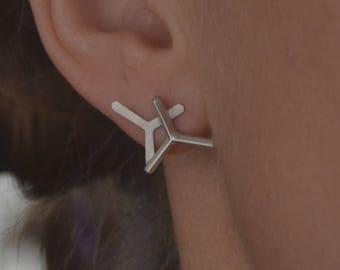 Minimalism, bar earrings, Silver 925, Triangle earrings, Modern jewelry, stylish, designed, minimal earrings, daily earrings, stud earrigns