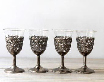 Boho filigree vintage decorative glass set / Victorian style home decor / four small glasses with metal holders / silver gray metal patina