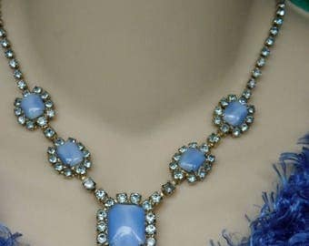 "10% OFF Elegant 1950s Vintage Blue Moonglow Translucent Stones and Rhinestone Neckace, 15ish"", Moonstone, Rectangle, Chandelier, Wedding, Pr"