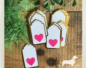 DOLLAR DEAL! Pink Heart. Gift Tags (Set of 10) -- (White, Gold Foil, Hang Tags, Birthday Gift Wrap, Favor Tags, Bridal Shower, Baby Shower)