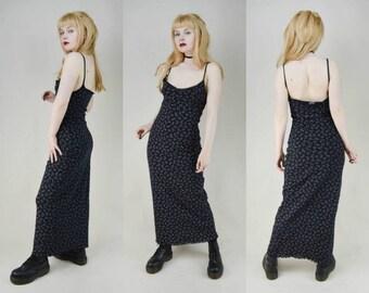 90s Grunge Black Floral Print Stretchy Mesh Maxi Dress S / M