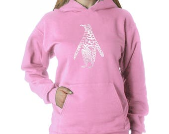 """Women's Hooded Sweatshirt - Created using Different Penguin Species"""""""