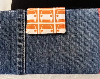 Denim Jean Bi Fold Wallet with Orange Car Park and Retro Car Prints
